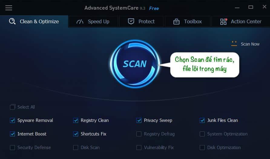 Phần mềm dọn rác Advanced SystemCare