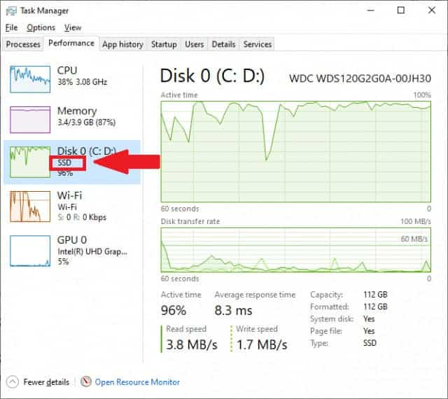 Kiểm tra ổ cứng SSD hay HDD qua Task Manager