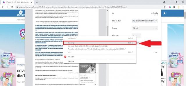 Sao chép nội dung trên web không cho copy