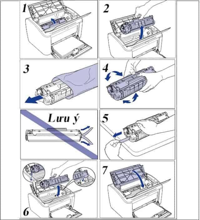 Các bước thay hộp mực máy in